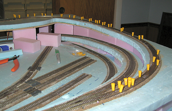 Not sure if i like foam base and track bed - N scale train layouts small spaces paint ...
